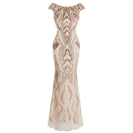 Sequin Sheath Dress (Angel-fashions Women's Bateau Cap Sleeve Floral Sequin Sheath V Back Evening Dress)
