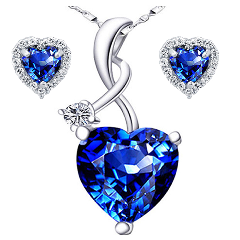 Devuggo 4.03 Carat TCW Heart Cut Gemstone Created Blue Sapphire 925 Sterling Silver Necklace Pendant and Earrings 3... by