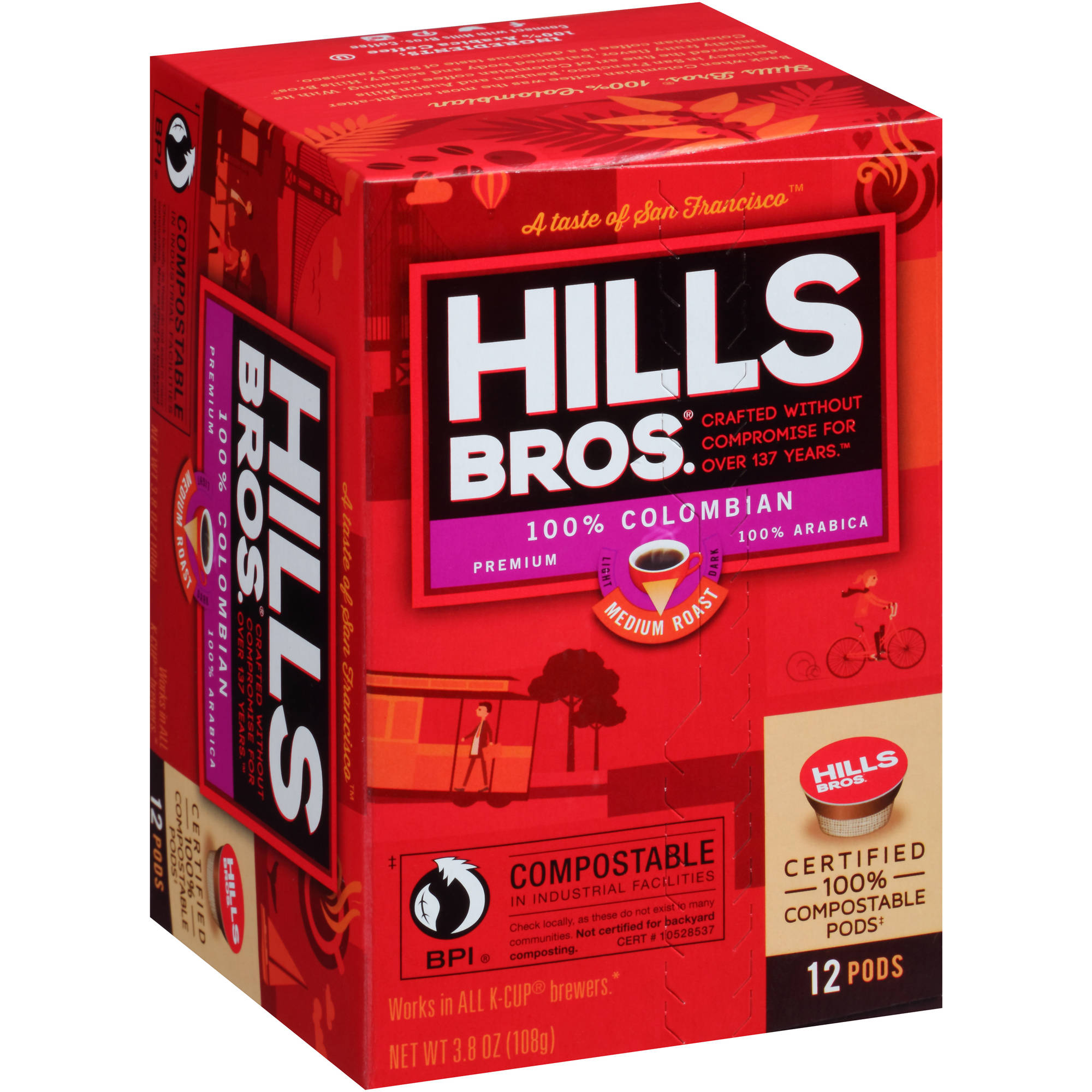 Hills Bros. 100% Colombian Medium Roast Coffee Single Serve Cups, 12 count, 3.8 oz
