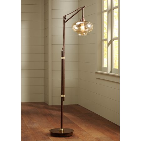 Franklin Iron Works Industrial Downbridge Floor Lamp Bronze Cognac Glass Dimmable LED Edison Bulb for Living Room Reading Office