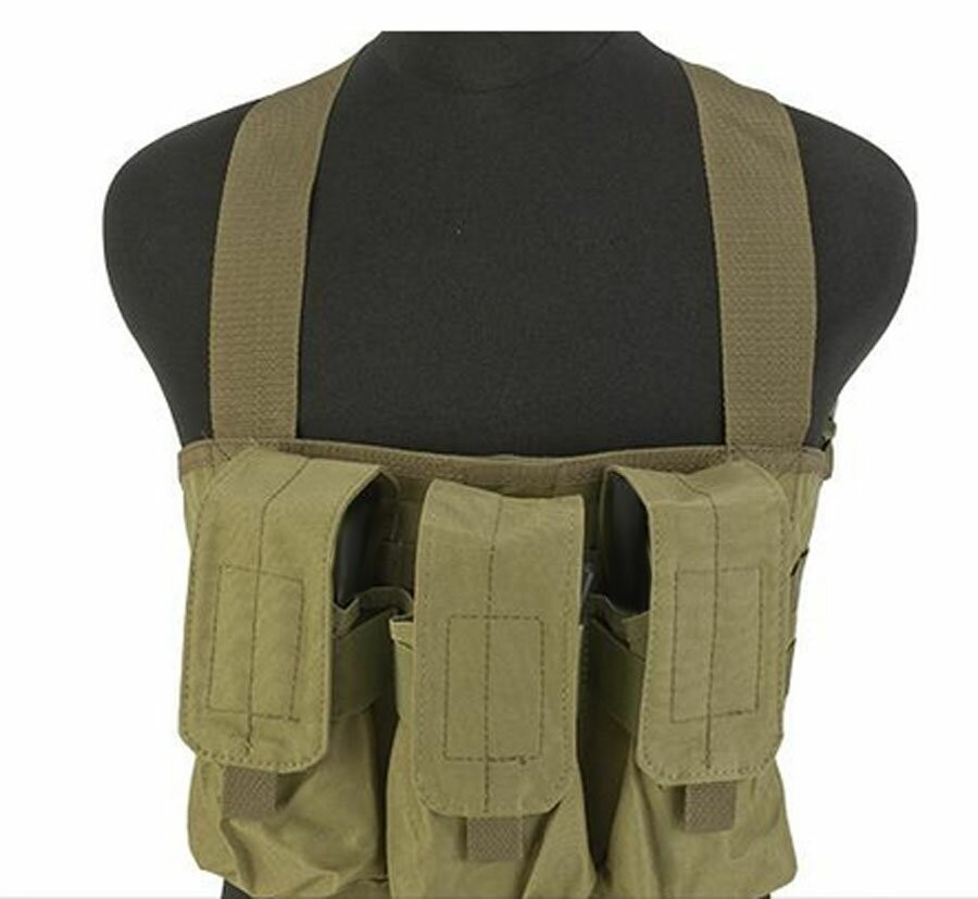 Tactical Molle Golem Chest Rig Tan W// 3 Pouch Mag Holder Vest Carrier