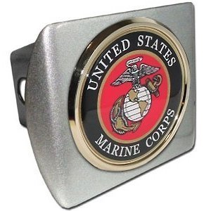 "US Marine Corps USMC ""Brushed Silver with Gold Plated Seal Emblem"" Metal Trailer Hitch Cover Fits 2 Inch Auto Car Truck"