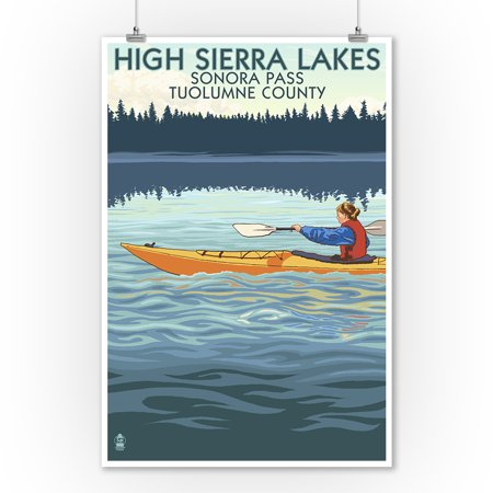 High Sierra Lakes - Sonora Pass, Tuolumne County, California - Kayak Scene - Lantern Press Poster (9x12 Art Print, Wall Decor Travel Poster)