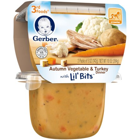 Gerber  3Rd Foods  Autumn Vegetable   Turkey Dinner With Lil Bits  Baby Food  5 Oz  2 Count