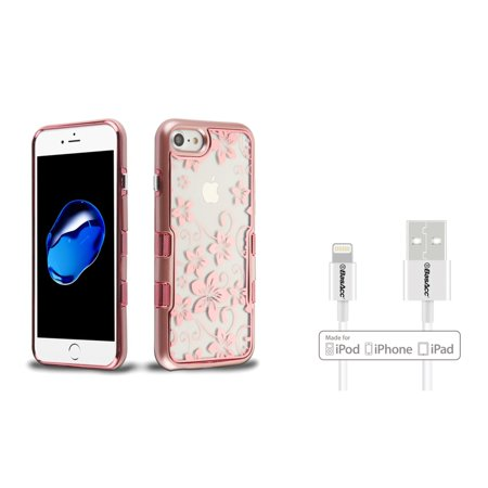 Insten Tuff Panoview Hibiscus Flowers Dual Layer Hybrid PC/TPU Rubber Transparent Case Cover For Apple iPhone 7/8 - Rose Gold (Bundle with BasAcc MFI Certified Lightning Cable) (Hibiscus Flowers For Sale)