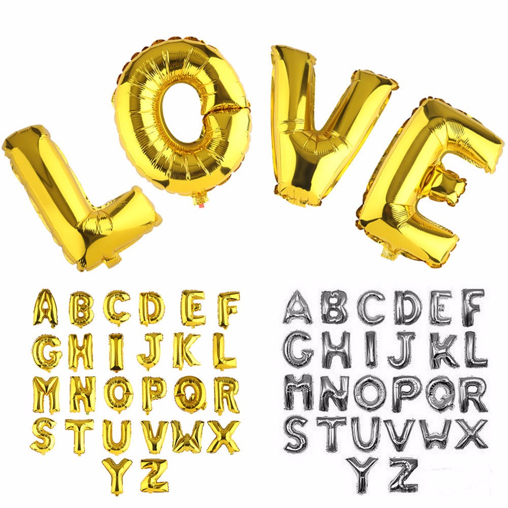 16'' Mylar Foil Balloon Gold Silver Letter Alphabet Party Birthday Wedding