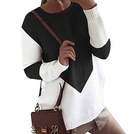 Women Long Sleeve Crew Neck Pullovers Stitching Color Loose Knitted
