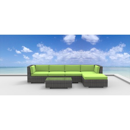 Urban Furnishing - MALO 6pc Modern Outdoor Wicker Patio Furniture Modular Sofa Sectional Set, Fully Assembled - Lime Green ()