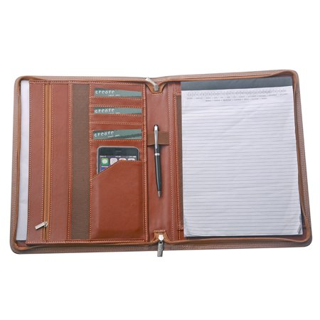 (Leather Padfolio Zipper Organizer Portfolio Case with Storage for A4 Notepad and Your Essentials,Brown)