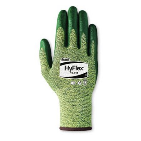 Ansell Size 9 HyFlex 11-511 Medium Duty Cut And Abrasion Resistant Green Foam Nitrile Palm Coated Work Gloves With Intercept Technology DuPont Kevlar Liner And Knit Wrist