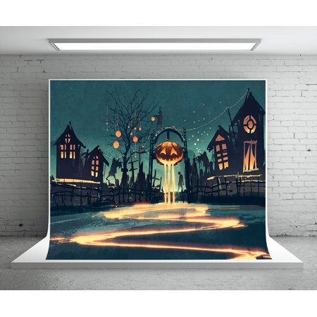 HelloDecor Polyster 7x5ft Haunted Halloween Photography Backdrops Scared Pumpkin Castle Boneyard Photo Booth Props Background](Scare Props)
