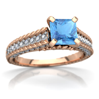 Blue Topaz Antique Style Ring in 14K Rose Gold by