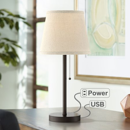 360 Lighting Modern Desk Table Lamp with Hotel Style USB and AC Power Outlet in Base Bronze Metal Oatmeal Drum Shade for Bedroom Office (Pin Power Compact Lamp)