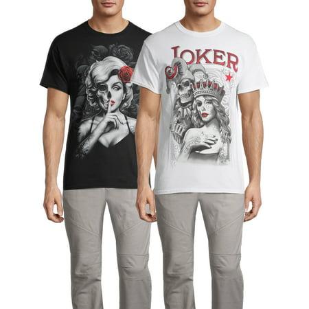 Joker & Beauty Sketch Men's and Big Men's Graphic T-Shirt, 2-Pack