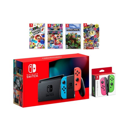 2019 New Nintendo Switch Red/Blue Joy-Con Console Multiplayer Party Game Bundle + Neon Pink/Green Joy-Con, Super Mario Party, Mario Kart 8 Deluxe, Minecraft, Super Bomberman (Best Games Console For 7 Year Old 2019)