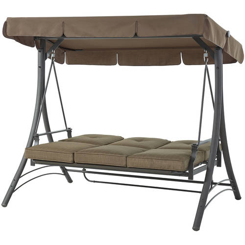 mainstays wentworth 3 person canopy cushioned porch swing   walmart   mainstays wentworth 3 person canopy cushioned porch swing      rh   walmart