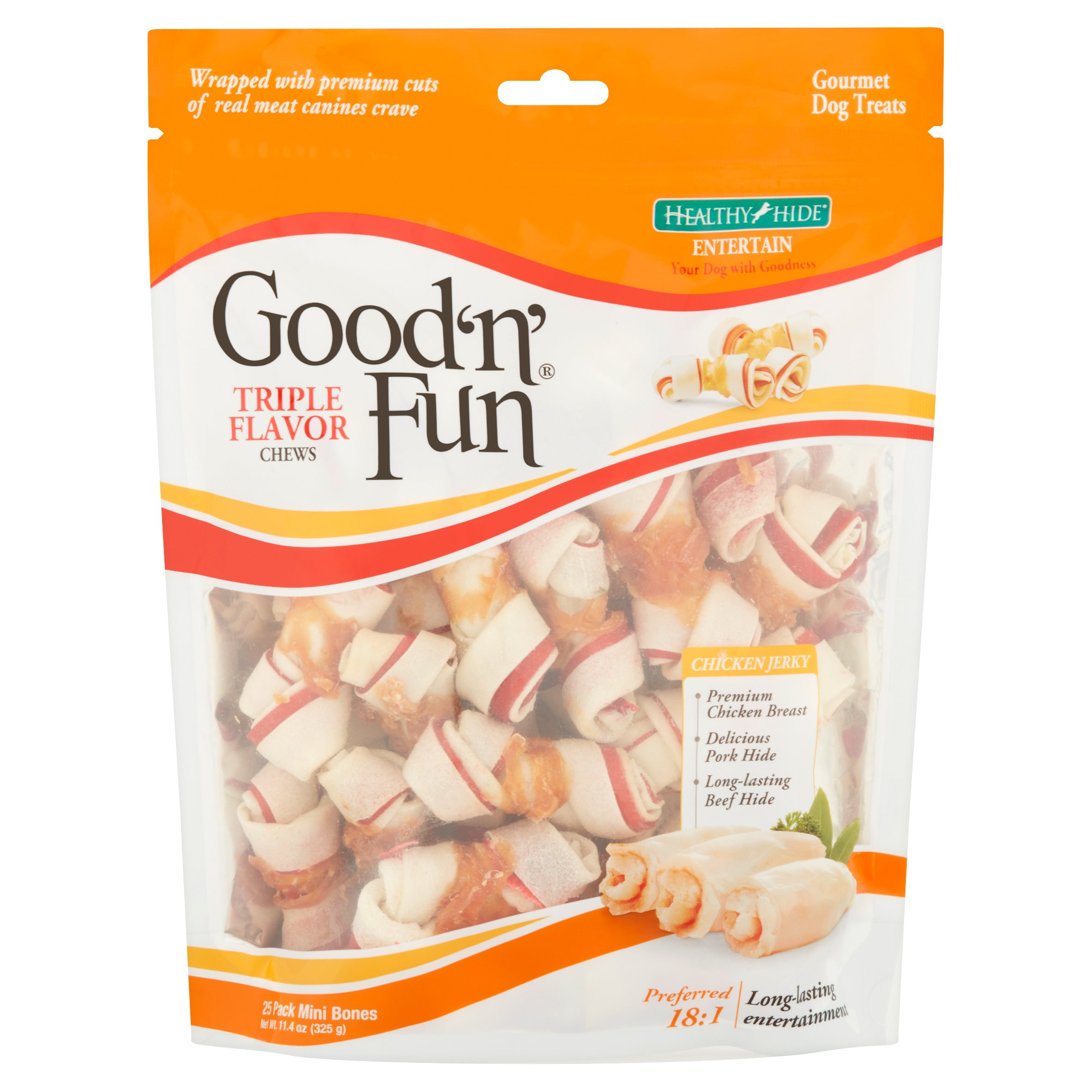 Healthy Hide Good'n'Fun Triple Flavor Gourmet Dog Treats, 25-Count