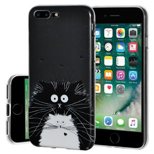 iPhone 7 Plus Case, Soft Gel Clear TPU Back Case Impact Defender Skin Cover for iPhone 7 Plus - Cat