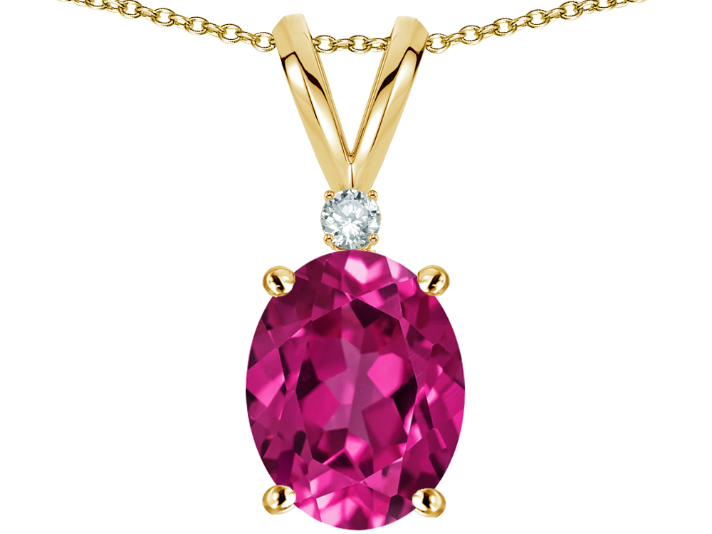 Star K Oval 8x6mm Simulated Pink Tourmaline Pendant Necklace in 14 kt Yellow Gold by