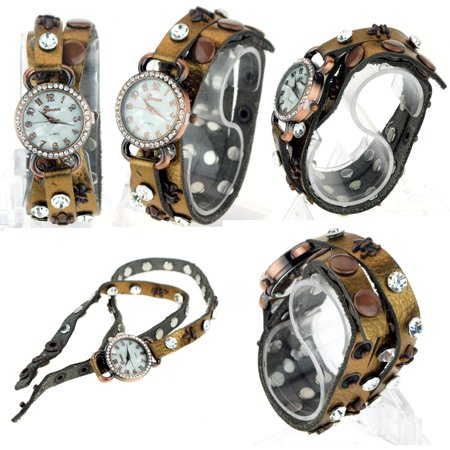 Geneva Copper Strap On Leather Rhinestone Bling Jewel Bracelet Analog Wrist Watch