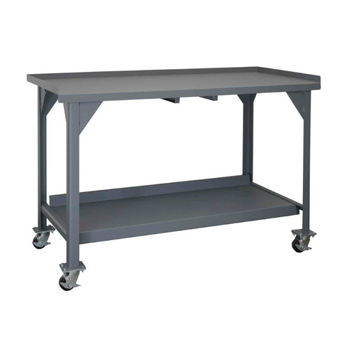 Durham Manufacturing 2 Shelf Mobile 60''W Steel Top Workbench