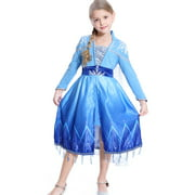 Frozen 2 Elsa Adventure Girls Role-Play Dress Features Ice Crystal Winged Cape, Sleek Dress Cut with Glittery, Frosty Trim