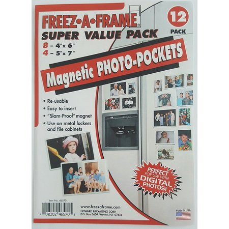 Freez-A-Frame Magnetic Super Value Combo Pack with (8) 4 x 6 & (4) 5 x 7 Magnetic Photo Frames 12