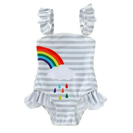Styles I Love Baby Girl Matching Rainbow One-Piece Swimsuit Twin Girl Best Friend Bathing Suit Beach Swimwear (Right Rainbow, 110/3-4