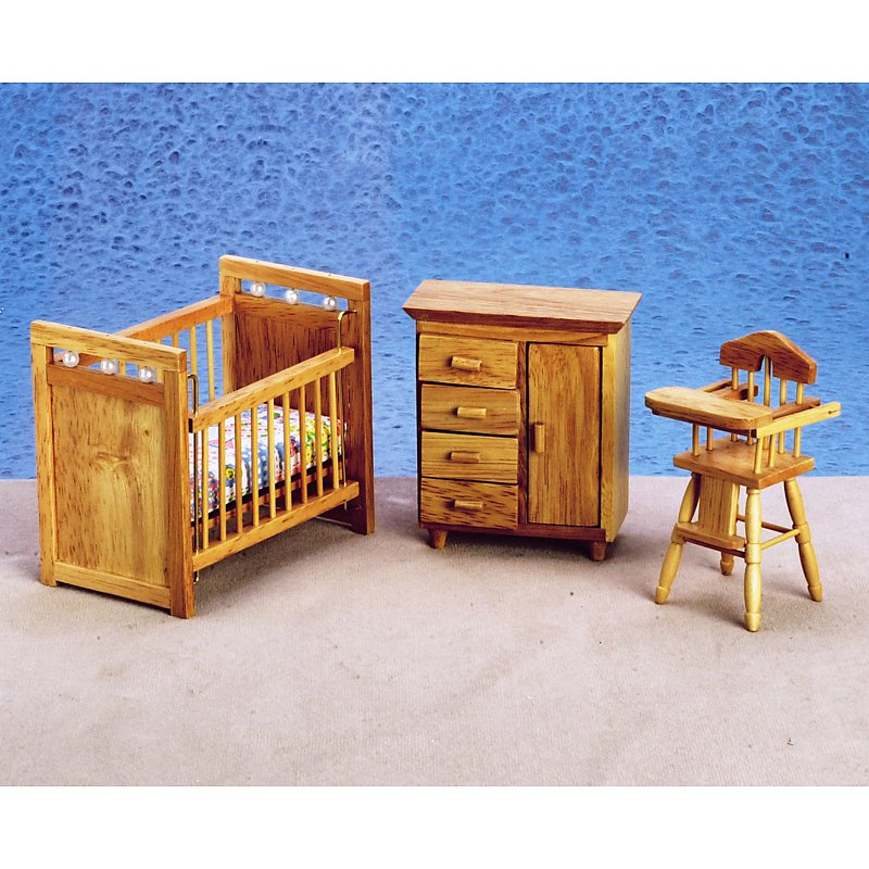 Oak Nursery Dollhouse Miniature Set
