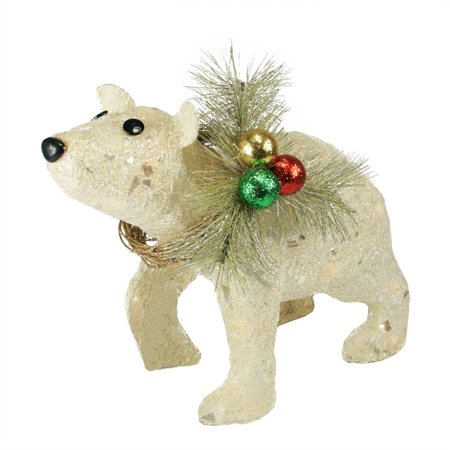 "16"" Lighted Sparkling Sisal Baby Polar Bear Christmas Yard Art Decoration - Walmart.com"