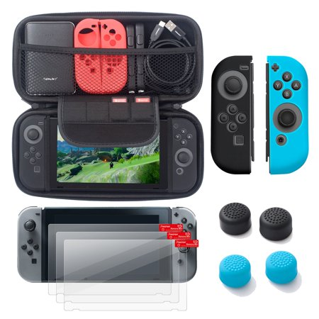 Nintendo Switch 6 Items Starter Kit  By Insten Carrying Case Hard Shell Cover   3 Pack Lcd Guard   Joy Con Controller Skin  Left Black Right Blue    Joy Con Thumb Grip Stick Caps For Nintendo Switch