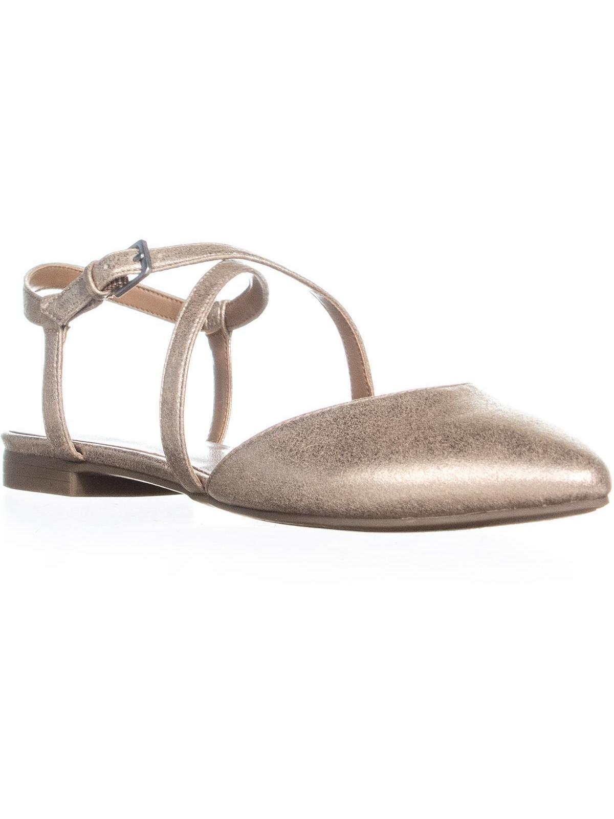 Womens Indigo Rd. Genetic2 Ankle Strap Ballet Flats, Gold, 6.5 US