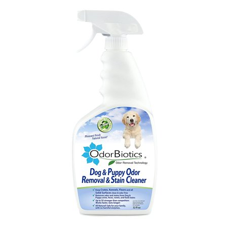OdorBiotics Dog & Puppy Odor Eliminator & Stain Cleaner, Removes Urine Smells in Seconds, For Kennel Odors, Puppy Crates, Carpets, Rugs & Upholstery Stains, Non-toxic,