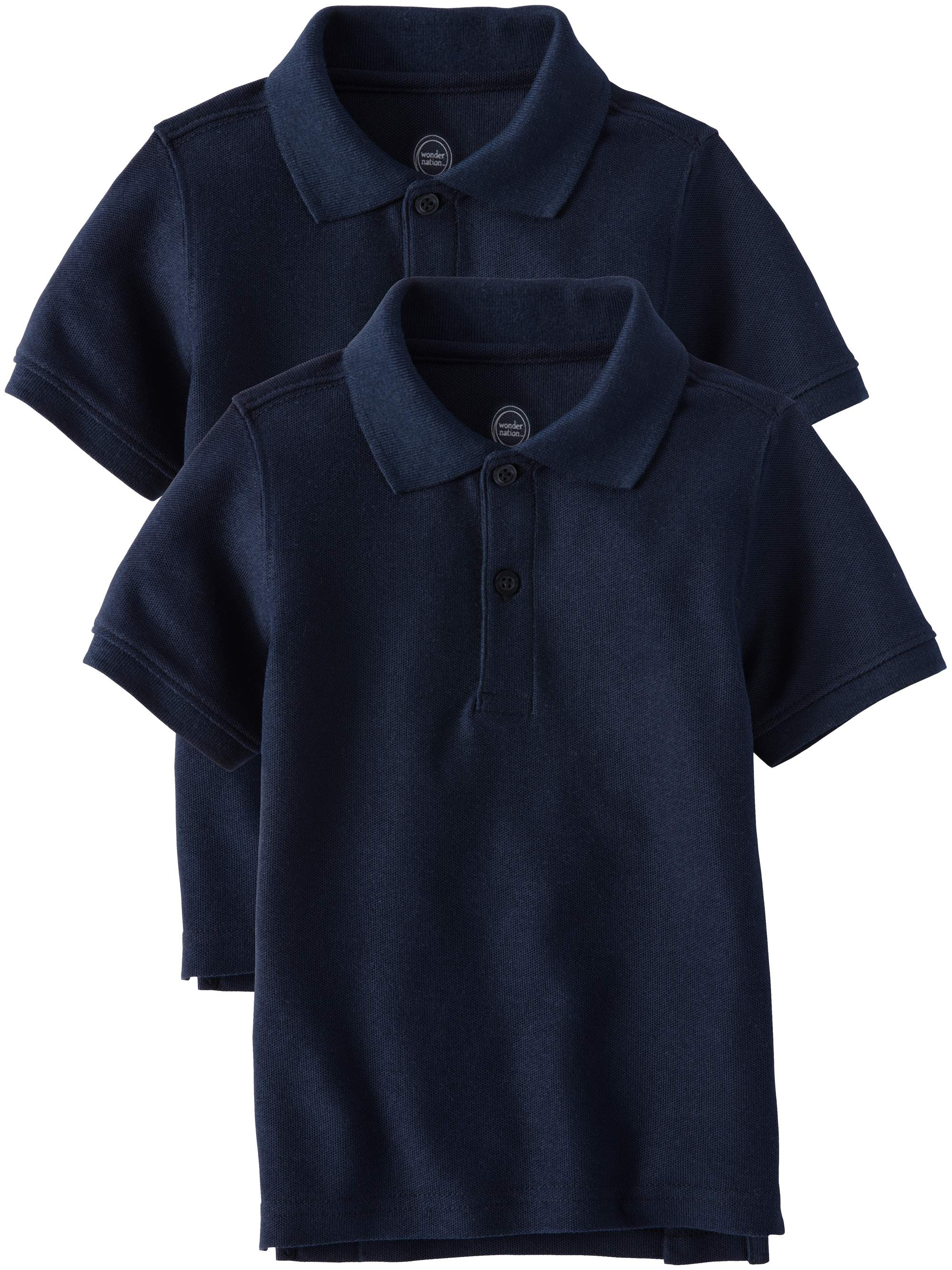 Toddler Boys School Uniform Short Sleeve Double Pique Polo, 2-Pack Value Bundle