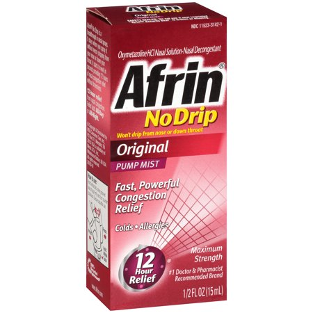 Afrin® No Drip Maximum Strength Original Nasal Decongestant Pump Mist, 0.5 fl