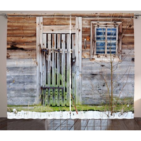 Primitive Country Decor Curtains 2 Panels Set, Neglected Old Farmhouse Rustic Wooden Door and Window Rural, Window Drapes for Living Room Bedroom, 108W X 84L Inches, Brown Green Silver, by Ambesonne ()