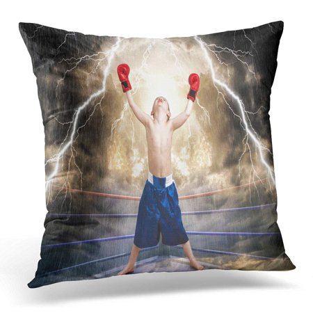 ECCOT Blue Belt The Boxing Champion Children's Sports Red Winning Pillowcase Pillow Cover Cushion Case 18x18 inch