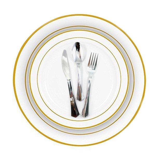 Gold Rim Plastic Plates 240 Bulk Dinner Wedding Disposable Silverware Party Walmart Com Walmart Com