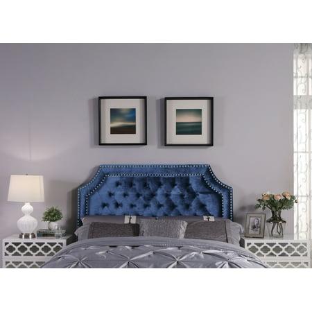 Chic Home Leda Headboard Velvet Upholstered Button Tufted Double Row ()