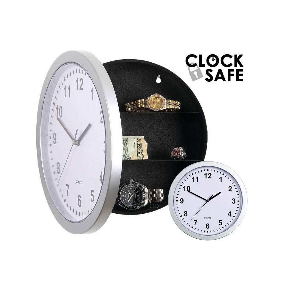 Secret Clock Safe Hidden Wall Jewelry Security Money Cash Compartment Stash Box