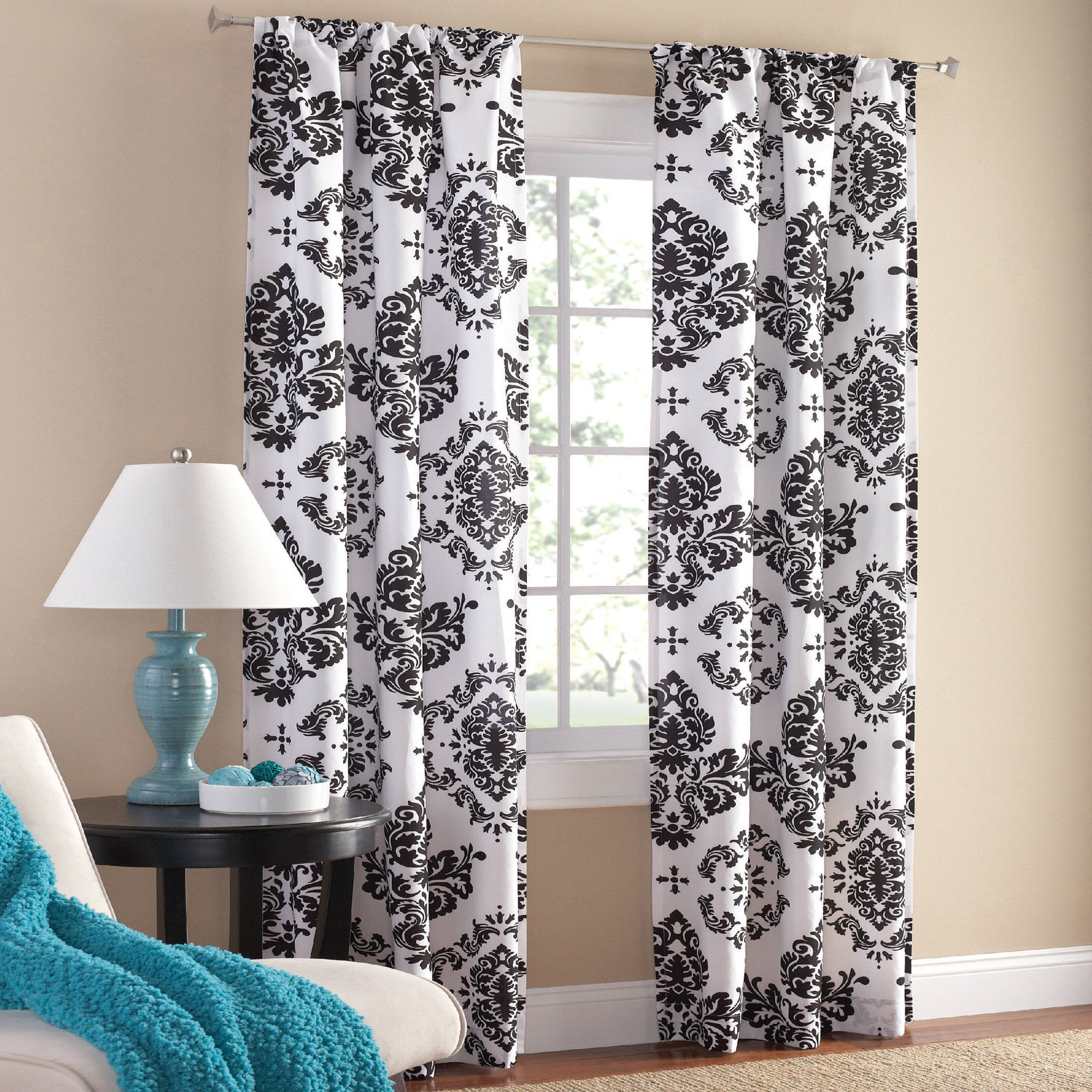 Mainstays Classic Noir Polyester Curtain Panel, Set Of 2