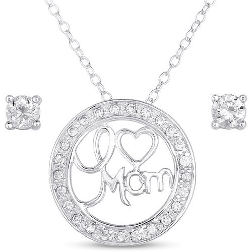 "CZ Sterling Silver Stud Earrings and ""I Love Mom"" Pendant, 18"""