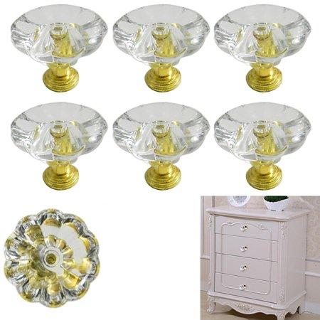 Door Handles Golf - 8 Pc Cabinet Door Knob Gold Diamond Dresser Chest Drawer Pull Handles Cupboard