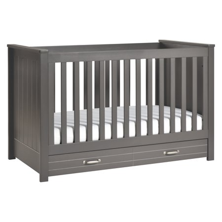 DaVinci Asher 3-in-1 Convertible Crib with Toddler Bed Conversion Kit in Slate Finish Da Vinci Alpha Baby Crib