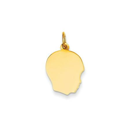 - 14K Yellow Gold Plain Medium .011 Gauge Facing Right Engravable Boy Head Charm (21mm x 13mm)
