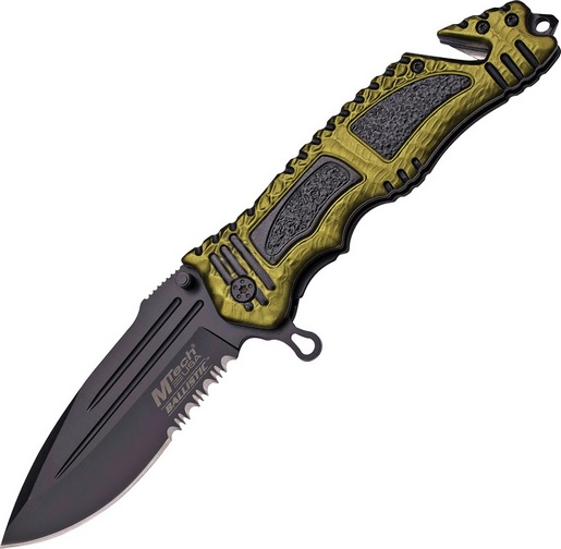 MTech A880GN Rescue Assisted Open Black Combo OD Folding Knife Pocket Folder