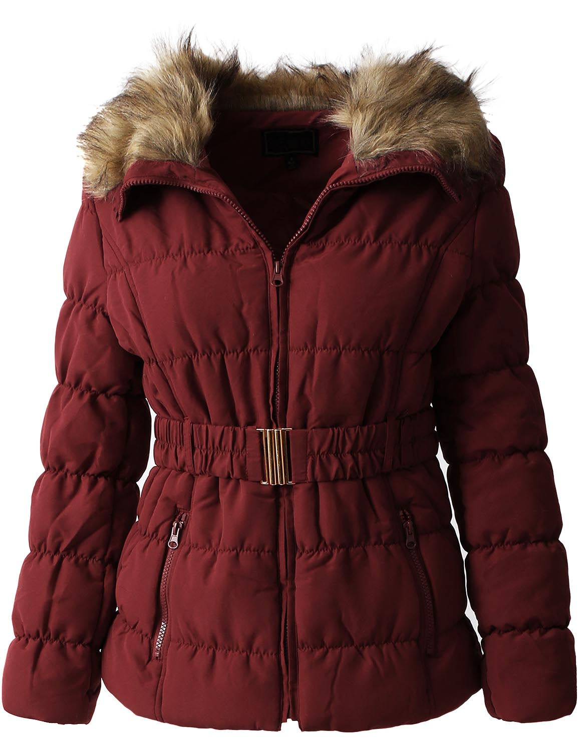 EC Womens FUR LINED COAT Belted Warm Parka Quilted Faux Fur Insulated Puffer Jacket... by