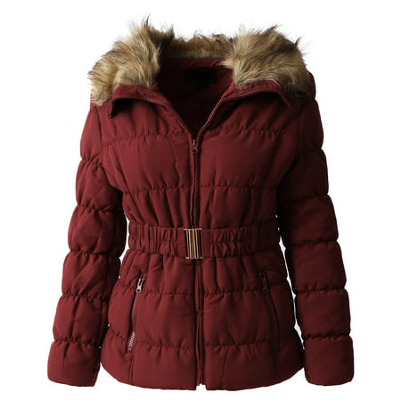 Womens Fur Lined Coat with Belt Quilted Faux Fur Insulated Winter Jacket Parka