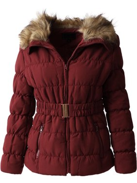 Product Image Womens Fur Lined Coat with Belt Quilted Faux Fur Insulated Winter  Jacket Parka Outerwear eef3371a74