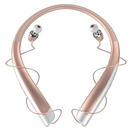 Bluetooth Headphones with Mic - Wireless Neckband Headset with Retractable Earbuds - V4.1 Earphones with Microphone, Noise Cancellation, Long Battery Life for iPhone and Android Smartphones, Rose gold